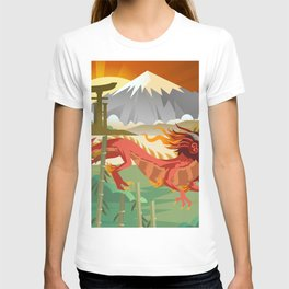 red chinese asian flying dragon T-shirt