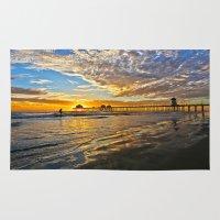 calendars Area & Throw Rugs featuring Sunset ~ Huntington Beach Pier CA  11/12/13 by John Minar Fine Art Photography