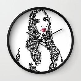 Kanji Calligraphy Art :woman's face #9 Wall Clock