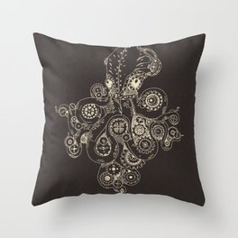 Steampunk Octopus Art Print Throw Pillow
