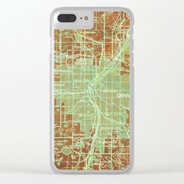 Denver Colorado map, year 1958, orange and green artwork Clear iPhone Case