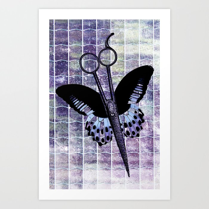 hair stylist scissors shears butterfly grunge purple Kunstdrucke