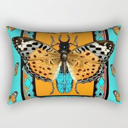 WESTERN  BUTTERFLIES ORANGE BEETLE TURQUOISE ART Rectangular Pillow