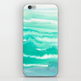 Modern hand painted teal turquoise watercolor brushstrokes iPhone Skin