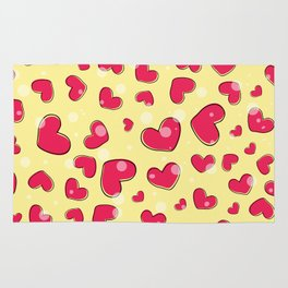 Little hearts in a yellow background Rug