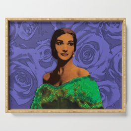 Maria Callas Stenciled Indigo Serving Tray