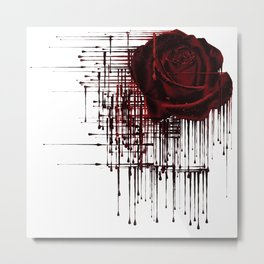 Bleeding Red Rose Metal Print