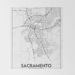 Minimal City Maps - Map Of Sacramento, California, United States Throw Blanket