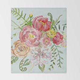 Bouquet of Spring Flowers Light Aqua Throw Blanket
