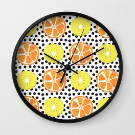 Painted Kiwis and Oranges Wall Clock