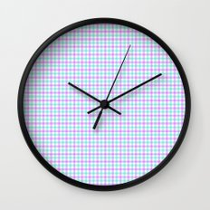 Gingham purple and teal Wall Clock