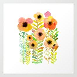 Peony field Art Print