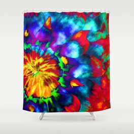 Groovy Tie Dyed Square Shower Curtain
