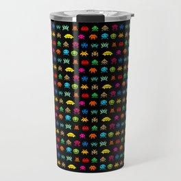 Invaders of Space retro arcade video game pattern design Travel Mug