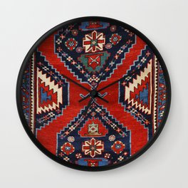 Kazak Shape 19th Century Authentic Colorful Dark Red Blue Vintage Patterns Wall Clock