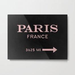 mauve & black watercolor paris france Metal Print
