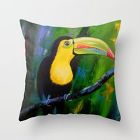 toucan Throw Pillows featuring Toucan by OLHADARCHUK