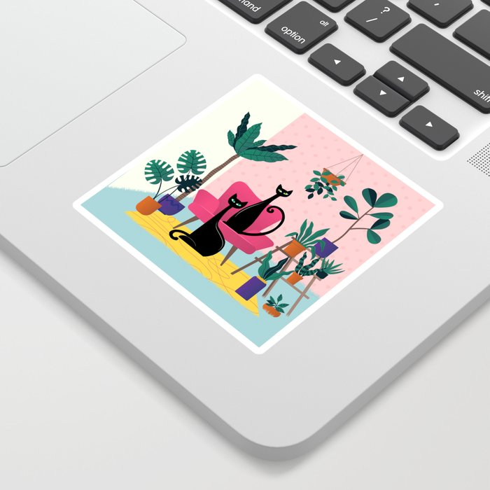 Sleek Black Cats Rule In This Urban Jungle Sticker