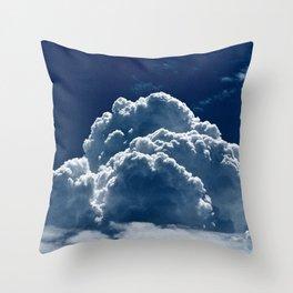 Puffy Cumulus clouds on Deep Blue Sky Throw Pillow