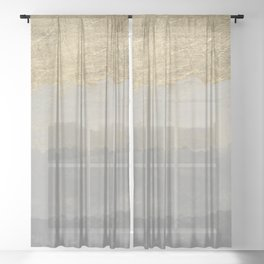 Geometrical ombre glacier gray gold watercolor Sheer Curtain