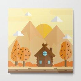 Autumn Cabin Metal Print