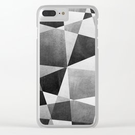 Mid Century Skewed Color Blocks - Gray, Black and White Clear iPhone Case
