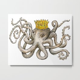 Scribbled Octopus, King of the Sea Metal Print