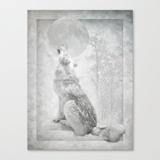 Wolf howl at the Moon Canvas Print