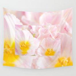Light pink tulip macro inside Wall Tapestry