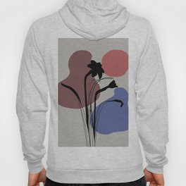 Daffodils Flower abstract Mid Century Design - grey Hoody