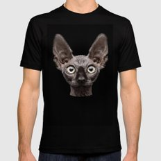 Funny Cat LARGE Black Mens Fitted Tee