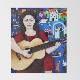 Violeta Parra and her guitar Throw Blanket