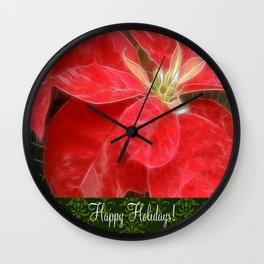 Mottled Red Poinsettia 1 Ephemeral Happy Holidays S6F1 Wall Clock
