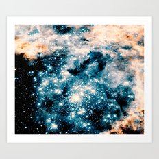 Nebula Galaxy Teal Peach Art Print