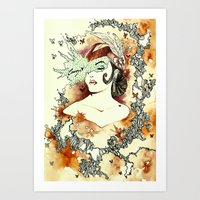 "courage Art Prints featuring ""Courage"" by Cat De Pillar"