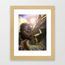 Princess and her Dragon Warrior Framed Art Print