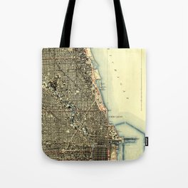 Chicago Colorful Map, vintage map year 1929 Tote Bag