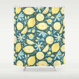 Lemon Pattern Green Shower Curtain