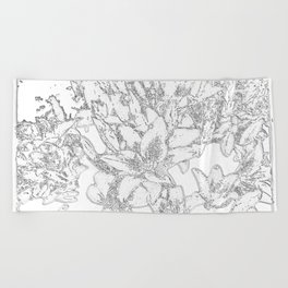 Large flowers pencil effect Beach Towel