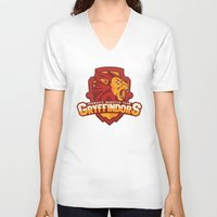 quidditch V-neck T-shirts featuring Hogwarts Quidditch Teams - Gryffindor by Deadround