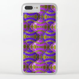 Christmas Ornament Tessellation in Blue Clear iPhone Case