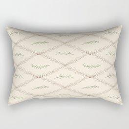 Geometrical floral pink green watercolor leaves Rectangular Pillow