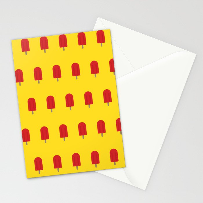 Red Popsicles - Yellow Background Stationery Cards