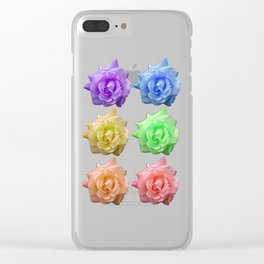 Rows of Rainbow Roses Clear iPhone Case