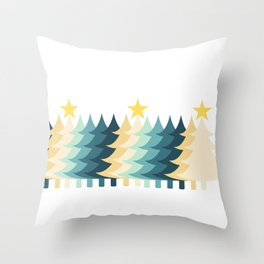 Christmas Tree with Sparkling Star Throw Pillow