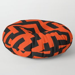 Black and Scarlet Red Labyrinth Floor Pillow