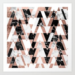 Modern geometric triangles rose gold black white abstract marble pattern Art Print
