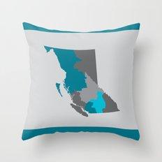British Columbia Map Print Throw Pillow