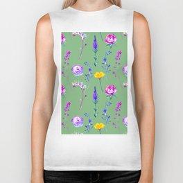 Violet lilac blue modern watercolor floral Biker Tank