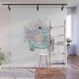 flowers and scooter. Flowers art Flower Art Print. Wall Mural